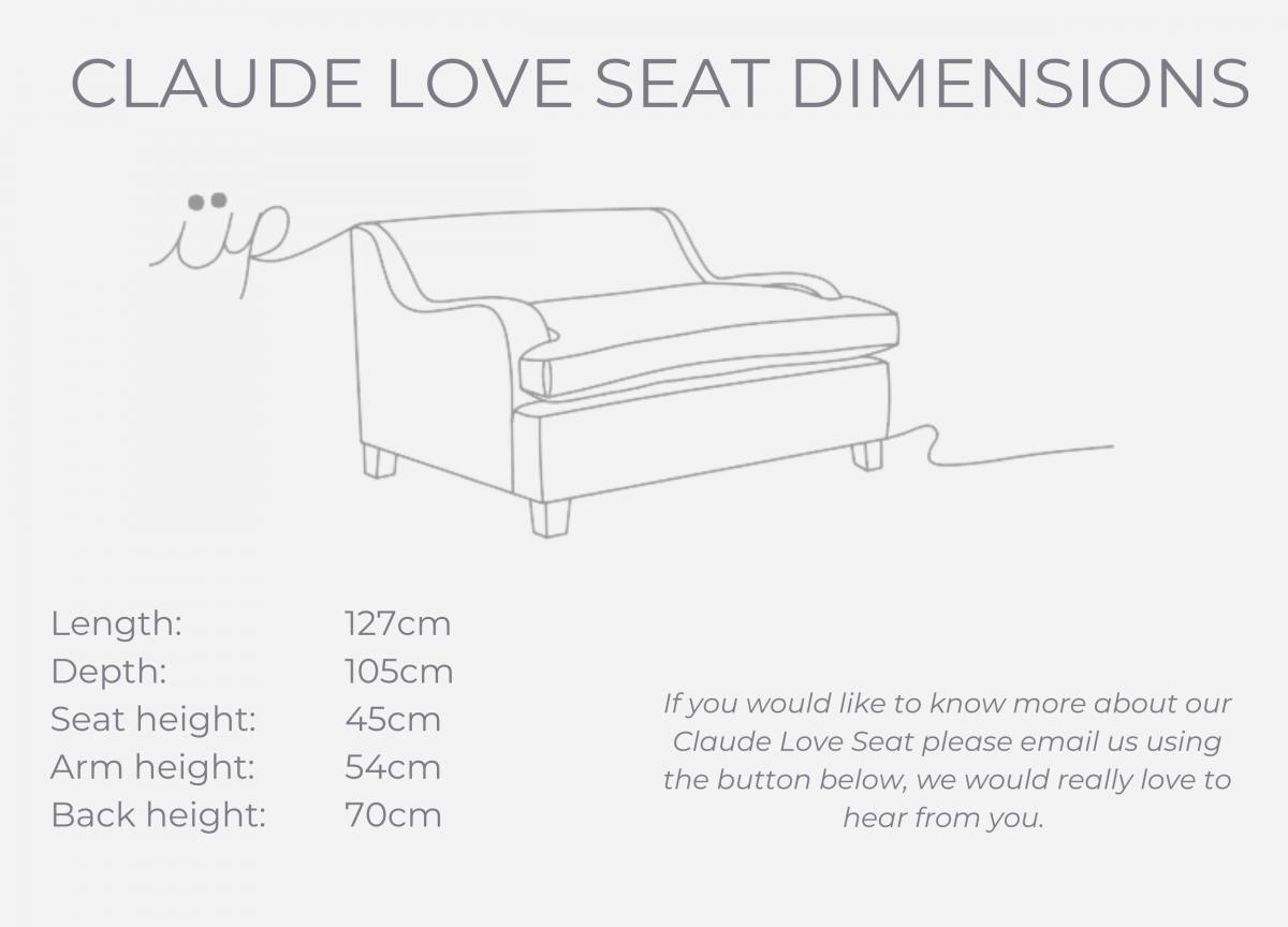 Claude Love Seat dimensions