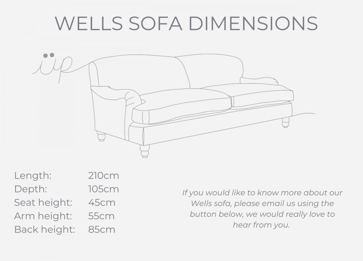 Wells sofa dimensions